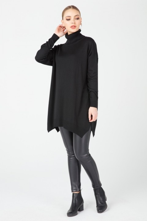 On Fashion - ALTI ASİMETRİK DEGAJE YAKA TUNİK-Siyah