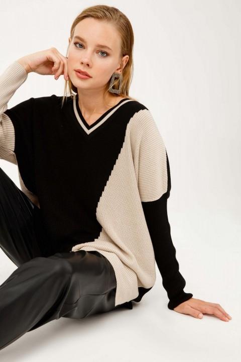 On Fashion - İKİ RENKLİ V YAKA T KOL TRİKO TUNİK-Bej