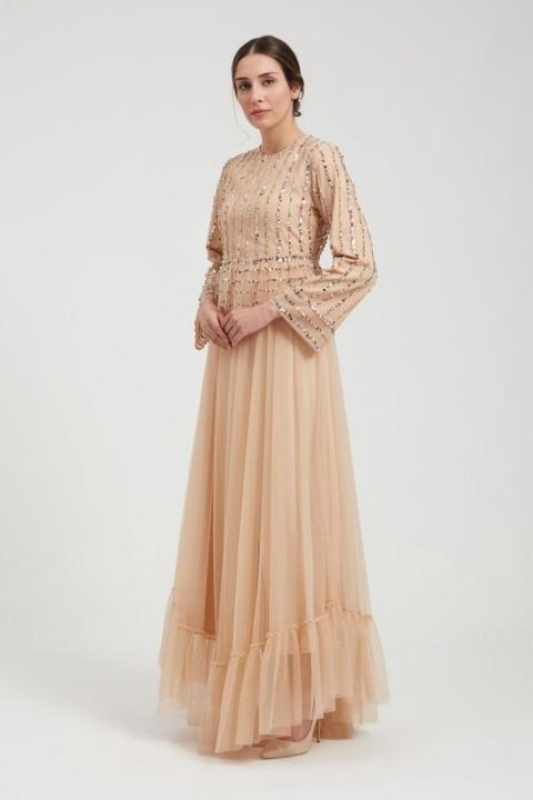 GAZELLA - Pul Detaylı Tül Etek Elbise-Somon