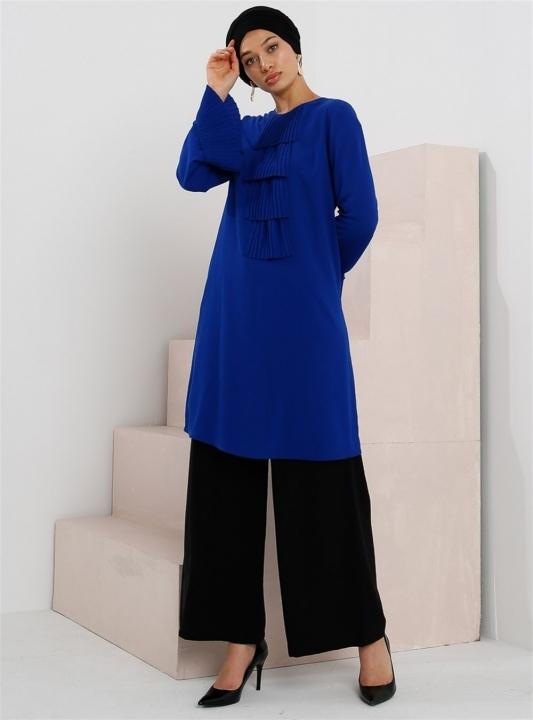 GAZELLA - GAZELLA Yakası ve Kolu Fırfırlı Tunik Saks Mavi