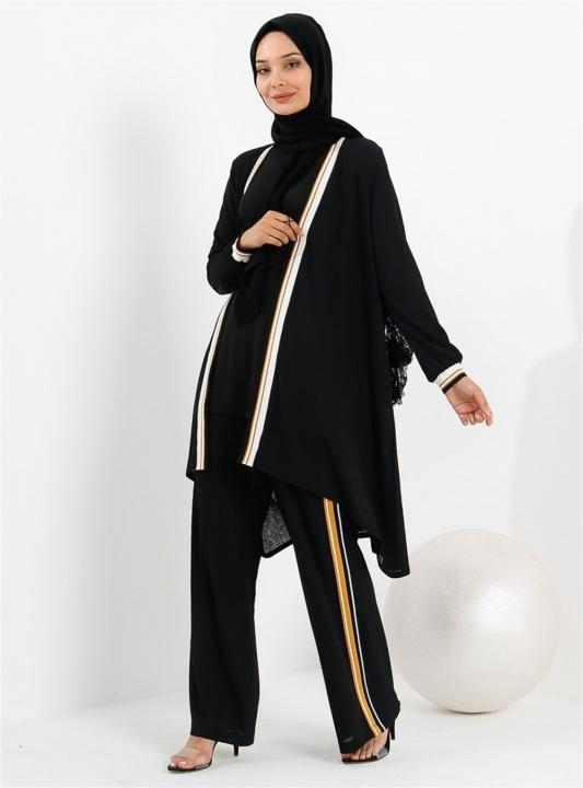 GAZELLA - GAZELLA Hırkalı Pantolon Takım Siyah