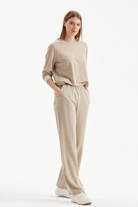 On Fashion - Bol Paça Beli Lastikli Pantolon-Kum