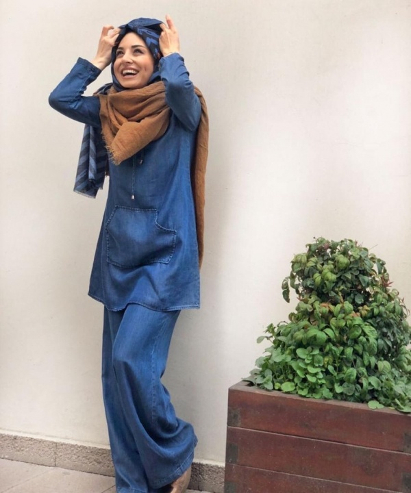 Tensel Kot Tunik ve Pantolon Takım-Koyu Mavi