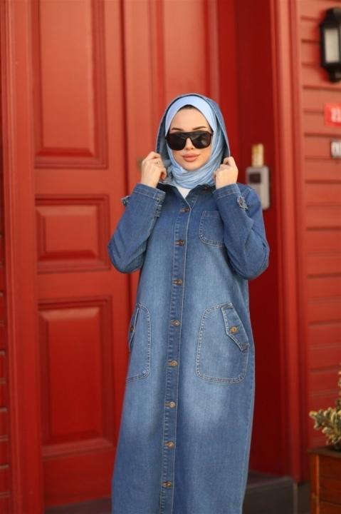 Kapşonlu Denim Kap-Koyu Mavi