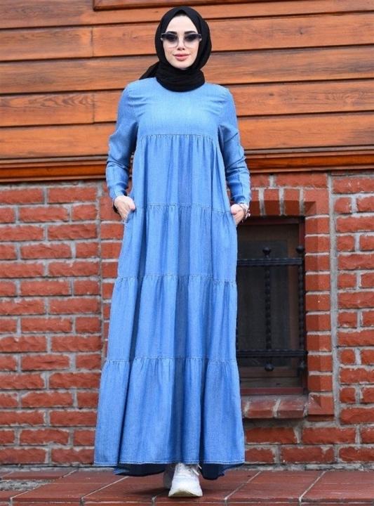 NEWAYS - NEWAYS Büzgülü Çingene Elbise Açık Mavi