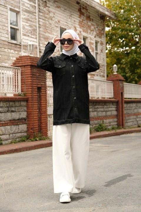 NEWAYS - İncili Kot Ceket-Siyah
