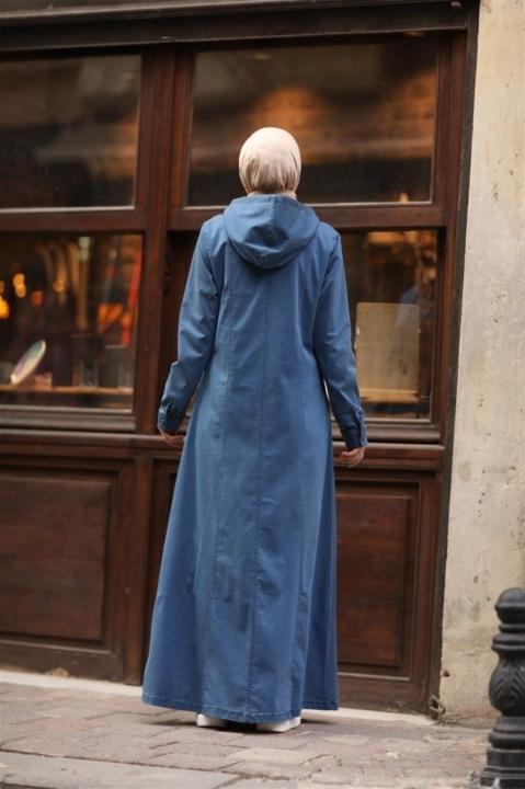 Kapşonlu Tensel Ferace-Mavi