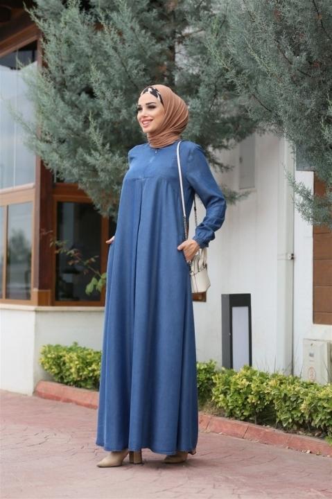NEWAYS - Önü Pileli Elbise-Koyu Mavi