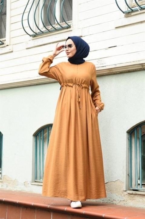 NEWAYS - NEWAYS Süs Bağcıklı Krep Elbise Camel