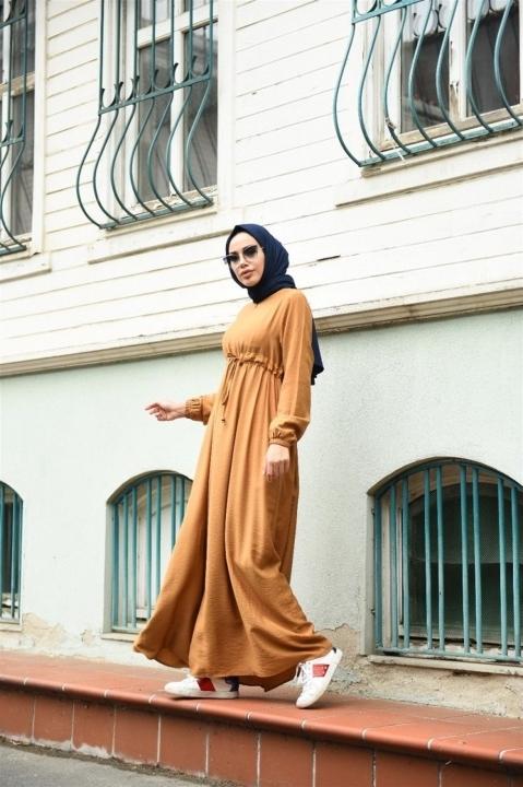 NEWAYS Süs Bağcıklı Krep Elbise Camel