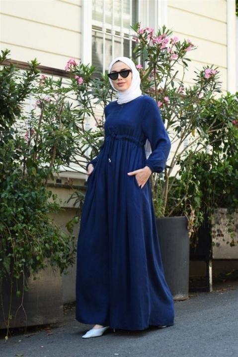 NEWAYS - NEWAYS Süs Bağcıklı Krep Elbise Lacivert