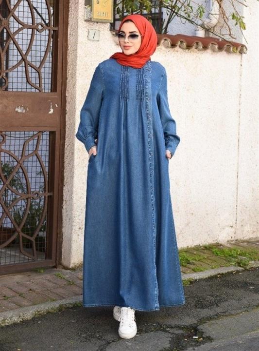 NEWAYS - NEWAYS Yandan Düğmeli Tensel Elbise Koyu Mavi