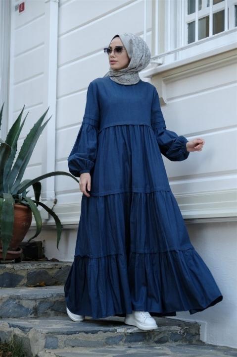 NEWAYS - NEWAYS Fırfırlı Büzgülü Tensel Elbise Koyu Mavi