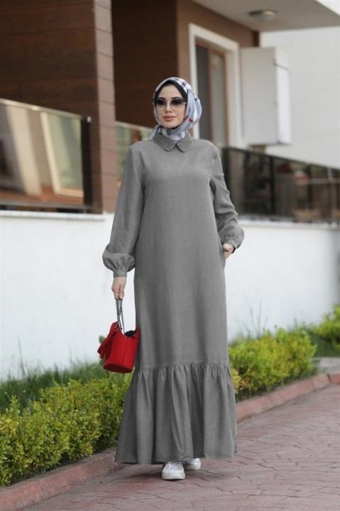 NEWAYS - NEWAYS Alt Fırfırlı Elbise Gri