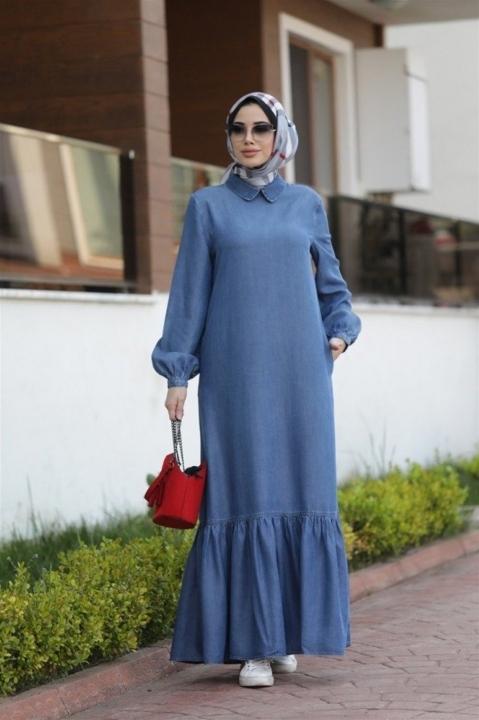 NEWAYS - NEWAYS Alt Fırfırlı Elbise Koyu Mavi