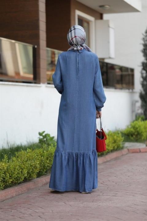NEWAYS Alt Fırfırlı Elbise Koyu Mavi - Thumbnail