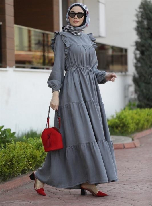 NEWAYS - NEWAYS Büzgülü Fırfırlı Elbise Gri