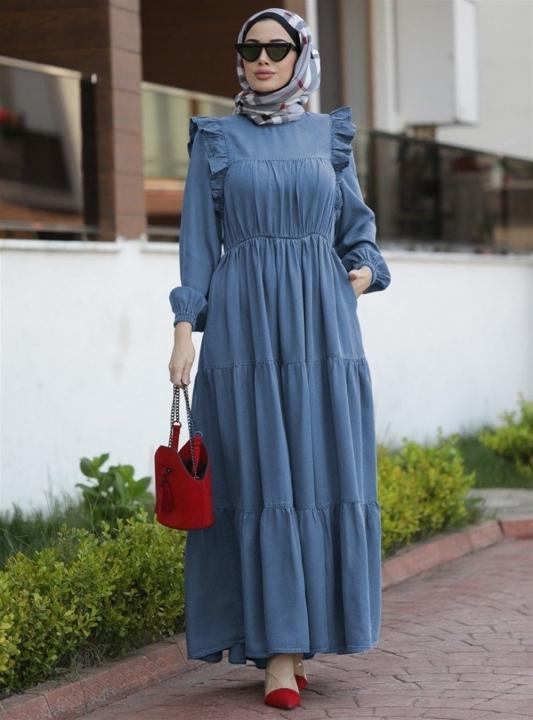 NEWAYS - NEWAYS Büzgülü Fırfırlı Elbise Koyu Mavi