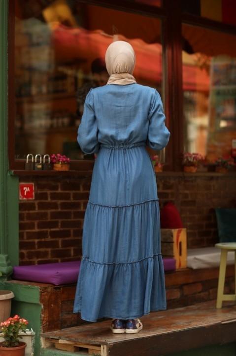 Büzgülü Süs Bağcıklı Elbise-Mavi - Thumbnail