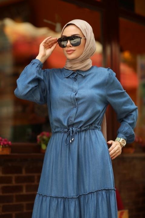 Büzgülü Süs Bağcıklı Elbise-Mavi