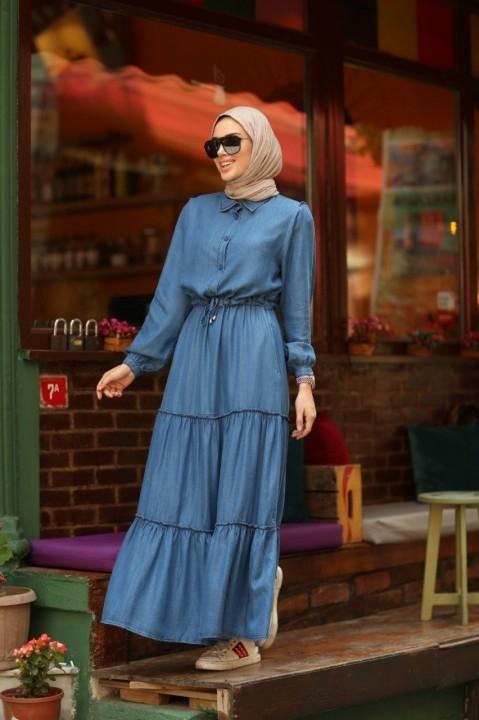 NEWAYS - Büzgülü Süs Bağcıklı Elbise-Mavi