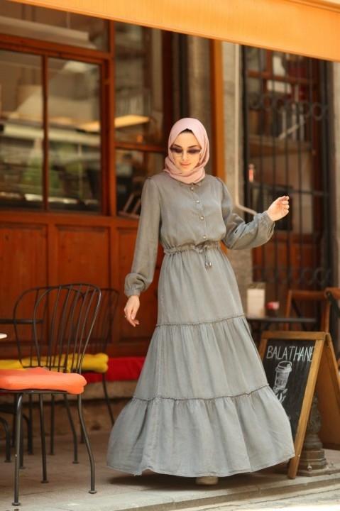 Büzgülü Süs Bağcıklı Elbise-Gri - Thumbnail