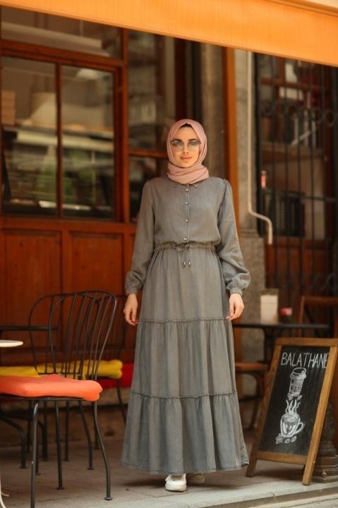 Büzgülü Süs Bağcıklı Elbise-Gri