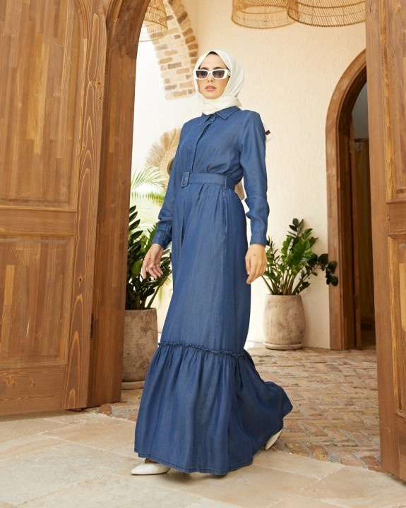 NEWAYS - Kemerli Tensel Elbise-Mavi