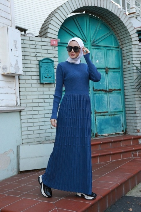 NEWAYS - NEWAYS Eteği Desenli Triko Elbise İndigo