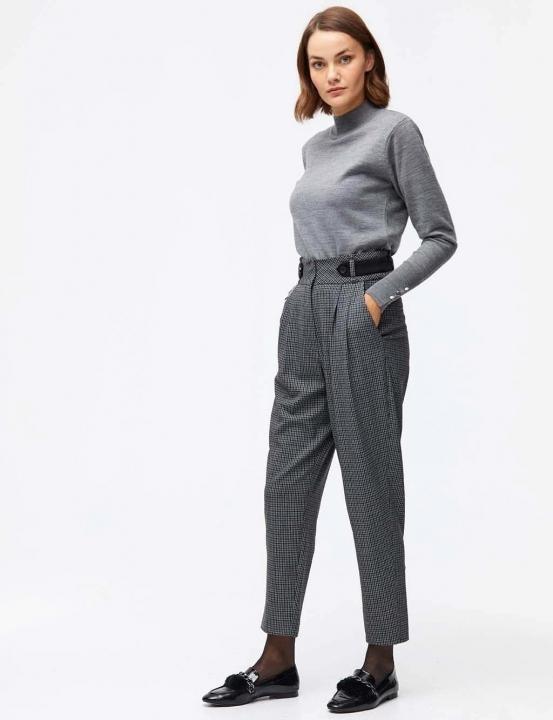 Kemer Detaylı Pötikareli Pantolon-Gri