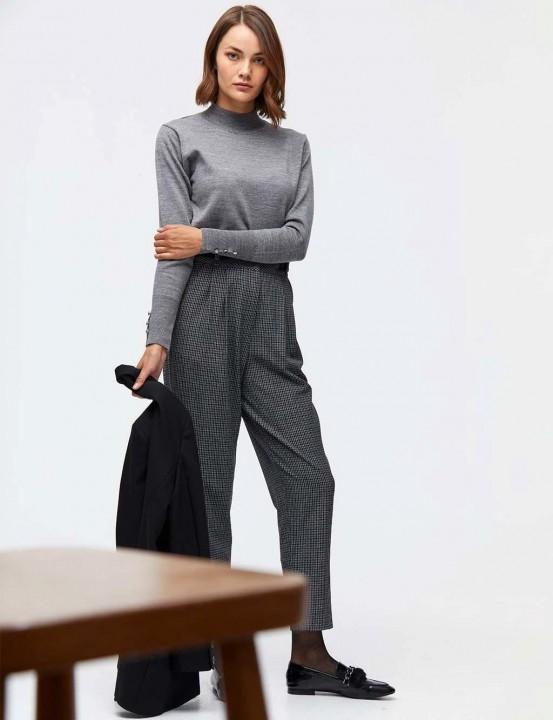 Kemer Detaylı Pötikareli Pantolon-Gri - Thumbnail