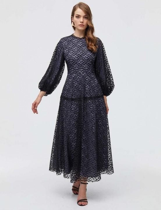KAYRA - Güpürlü Balon Kol Abiye Elbise-Siyah