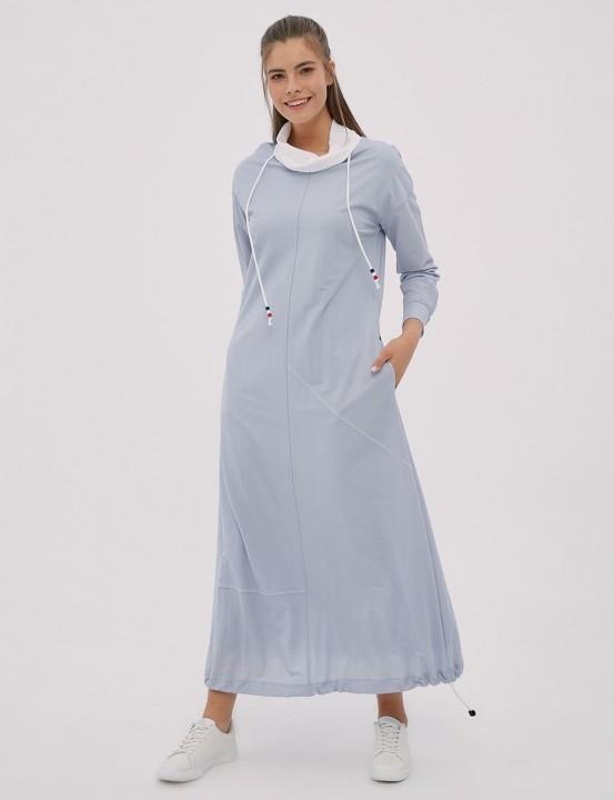 KAYRA - Asimetrik Parçalı Etek Ucu Büzgülü Spor Elbise-Mavi