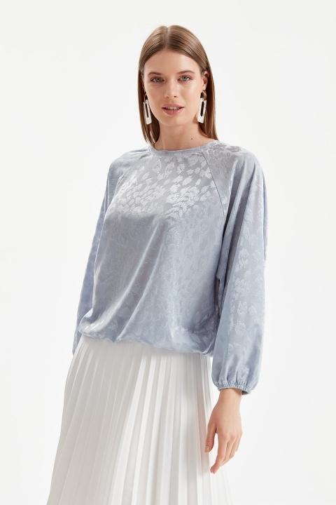 On Fashion - Altı Lastikli Yarasa Kol Bluz-Mavi