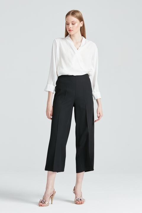 SENTEZ - Arkası Lastikli Geniş Paça Pantolon-Siyah