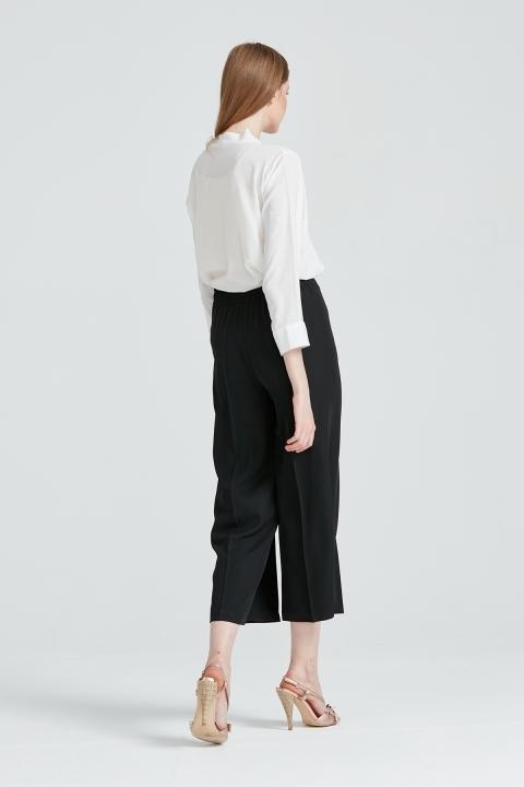 Arkası Lastikli Geniş Paça Pantolon-Siyah - Thumbnail