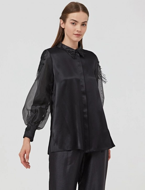 KAYRA - Organze Kollu Gömlek-Siyah