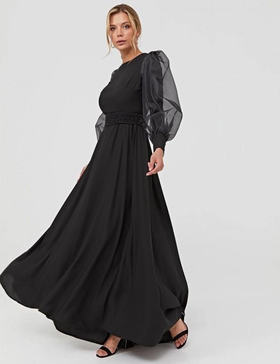 KAYRA - Balon Kol Mat Saten Abiye Elbise-Siyah