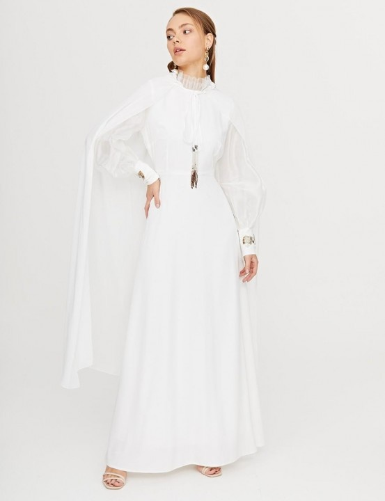 KAYRA - Organze Kol Abiye Elbise-Ekru