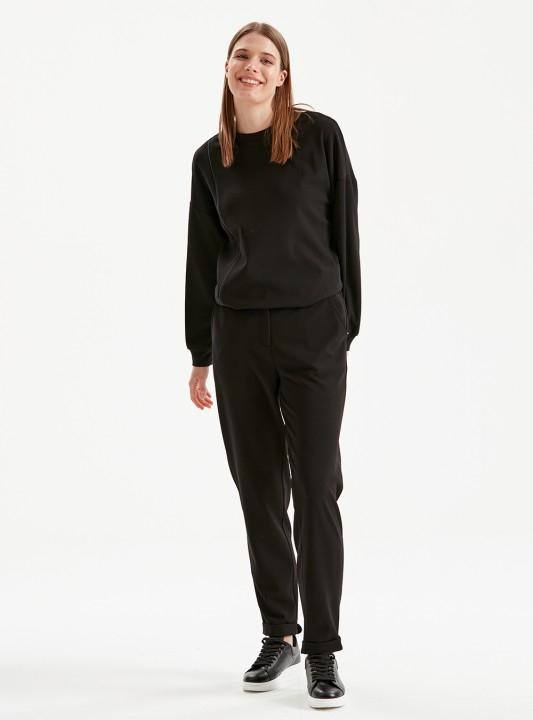 KAYRA - Beli Lastikli Ganri Detaylı Pantolon-Siyah