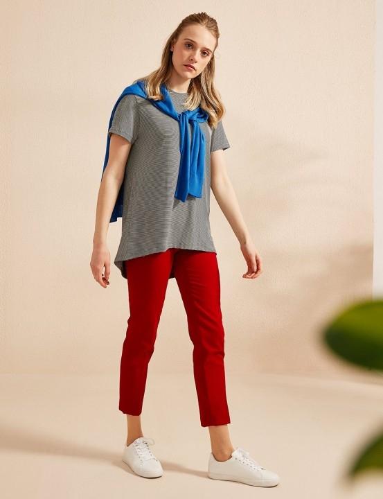 KAYRA - Basic Dar Paça Pantolon Kırmızı-Kırmızı