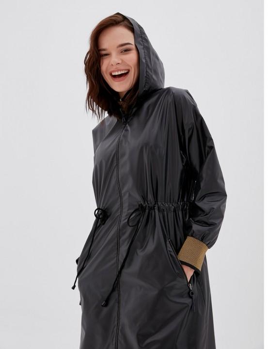KAYRA - Bel Büzgülü Fermuarlı Yağmurluk-Siyah