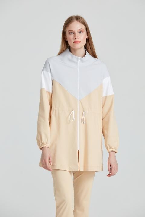 KAYRA - Belden Bağcıklı Fermuarlı Sweatshirt-Bej