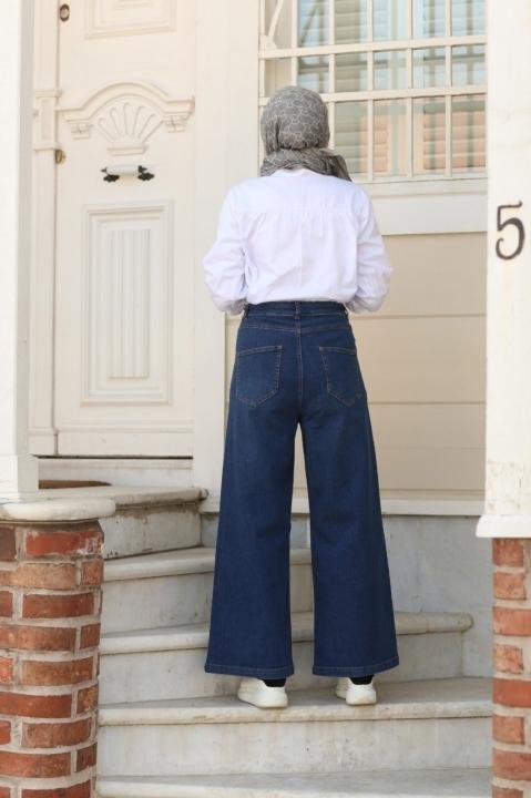 Belden Bağcıklı Pantolon-Koyu Mavi - Thumbnail