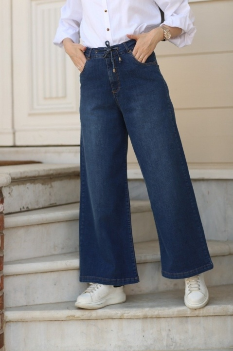 Belden Bağcıklı Pantolon-Koyu Mavi