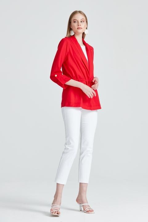 On Fashion - Beli Büzgülü Apoletli Spor Ceket-Kırmızı