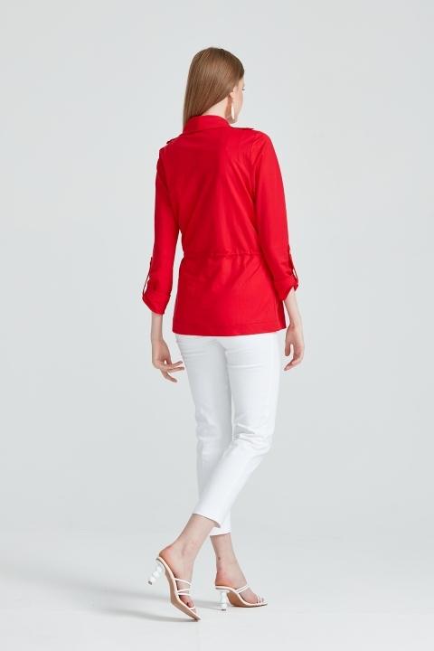 Beli Büzgülü Apoletli Spor Ceket-Kırmızı
