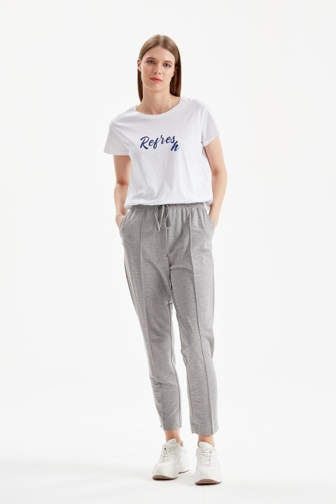 On Fashion - Beli İpli Dar Paça Spor Pantolon-Gri