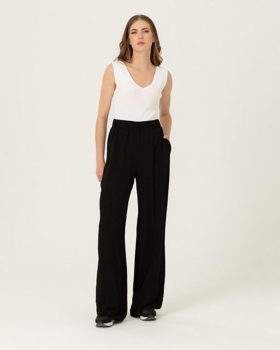 SEÇİL - Beli Lastikli Dökümlü Pantolon-Siyah