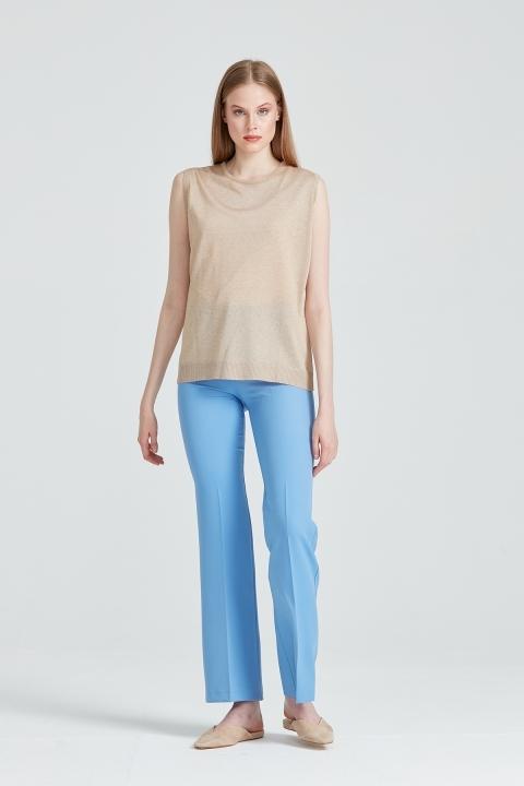 Beş Cep İspanyol Paça Pantolon-Açık Mavi